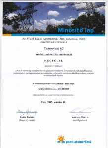 Nuclear Power Plant PAKS, Hungary, Certificate